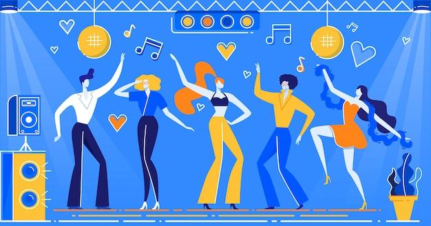 Дискотека танцующие люди в ретро одежде, прическа
