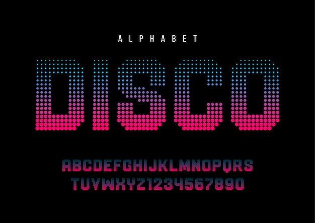 Disco dotted halftoned font with alphabet,
