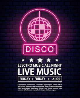 Disco electro music invitation poster neon lights colors