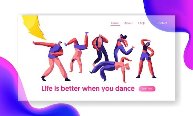 ディスコガイフリースタイルダンスランディングページ。若者、男の子と女の子のアクティブモーションを一緒に。ストリートコンサートのウェブサイトまたはウェブページでのアクティビティライフスタイル。フラット漫画ベクトルイラスト