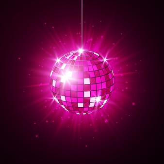 Disco or mirror ball with bright rays
