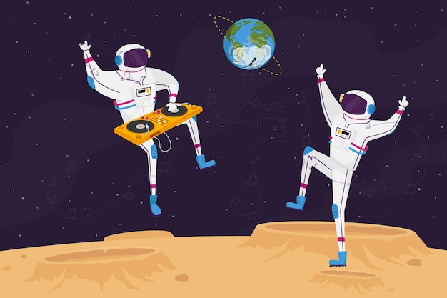 Disco party on alien planet or moon surface with dj and astronaut characters dancing with turntable