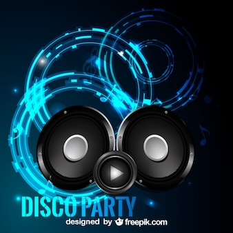 Disco party background with speakers