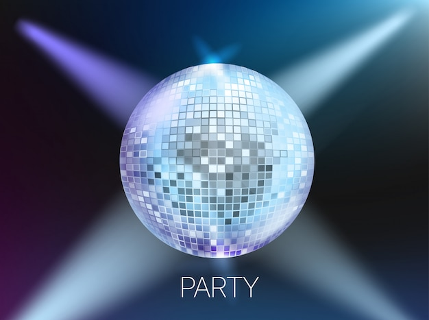 Disco party banner layout, card template with copyspace