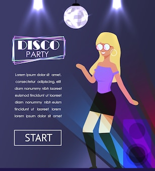 Disco party banner with dancing pretty blond woman