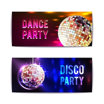 Disco party banners horizontal