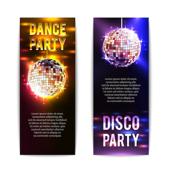 Disco party banners vertical