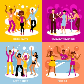 Disco party characters set
