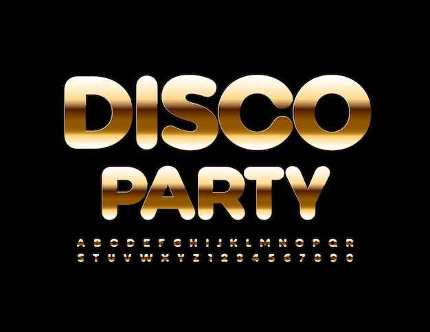 Disco party chic golden font luxury alphabet letters and numbers set