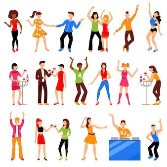 Disco party icons set