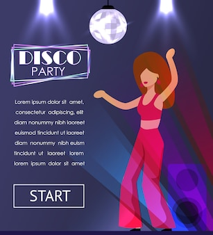 Disco party invitation banner with dancing woman