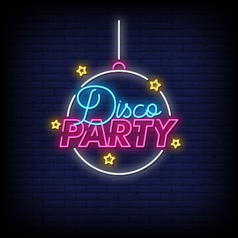 Disco party neon signs style text vector