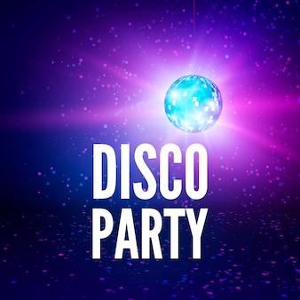 Disco party poster background. night club disco ball backdrop. illustration