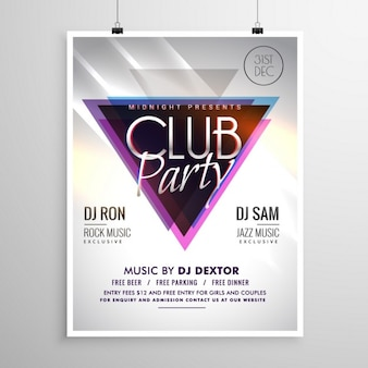 Disco party poster template with triangle