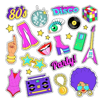 Disco party retro fashion elements with guitar, lips and stars for stickers, patches, badges. vector doodle
