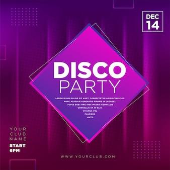 Disco party social media template