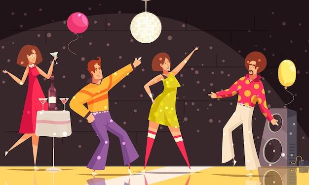 フラットなイラストを踊ったり飲んだりする人々とのディスコパーティー、