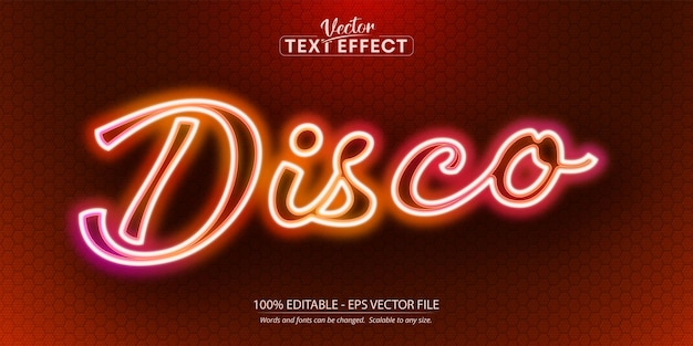 Disco text, neon style editable text effect