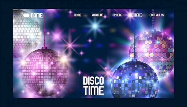 Disco time banner website  life begins at night entertainment and event disco show