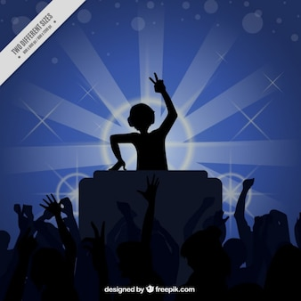Disco with people and dj silhouetes background