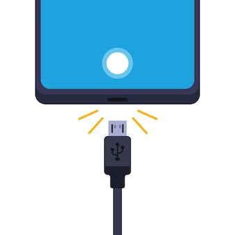 Disconnect the cell phone from the charger.   illustration  on white background.