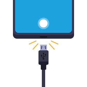 충전기에서 휴대폰을 분리합니다. 흰색 배경에 그림입니다.
