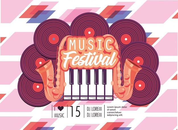 음악 축제 축하 피아노 키보드와 디스코