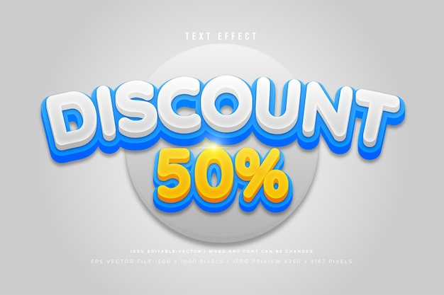 Discount 50% 3d text effect on grey background