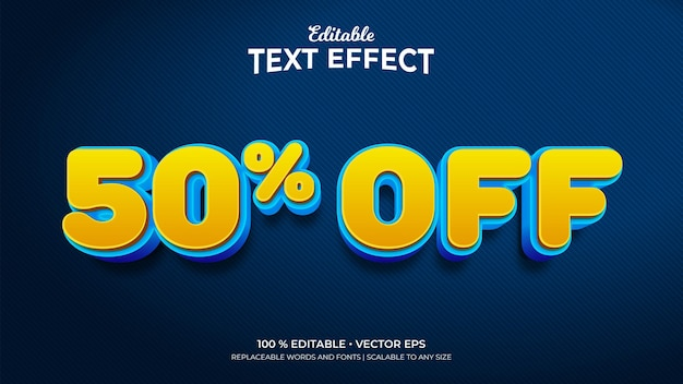 Discount 50 percent off 3d style editable text effects