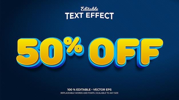 Скидка 50 процентов на редактируемые текстовые эффекты в стиле 3d