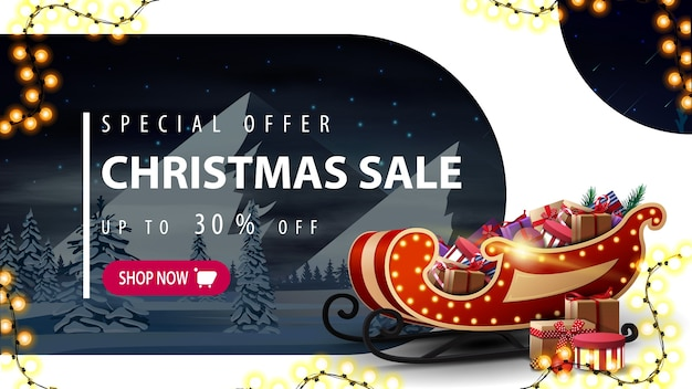 Discount banner with santa sleigh with presents and winter landscape