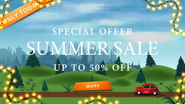 Discount banner with summer landscape on background, large white offer, frame of garland and button