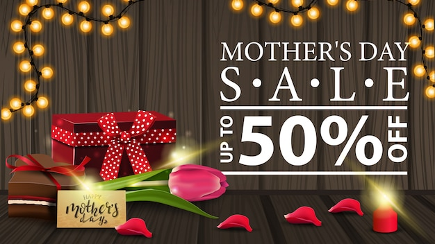 Discount banner for women's day with garland