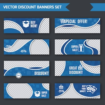 Discount banners blue set