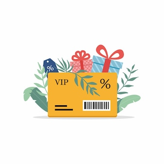 Дисконтная карта со знаком процента и дисконтной биркой программа лояльности и обслуживание клиентов