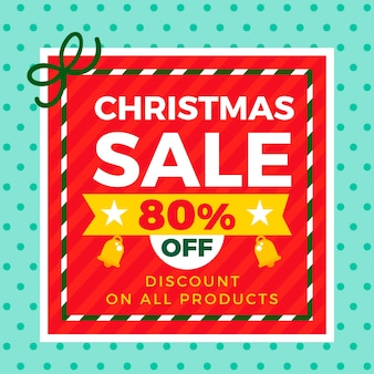 Discount for christmas in flat design