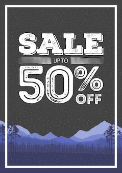Discount colorful background. abstract natural banner sales. the forest and mountains landscape flyer. vector illustration.