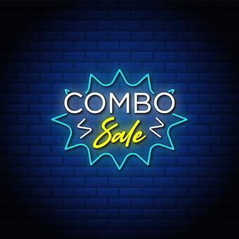 Discount combo sale banner  in neon style.