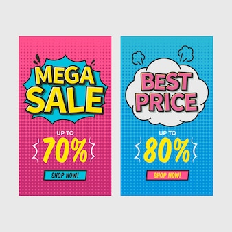 Discount comic banners set