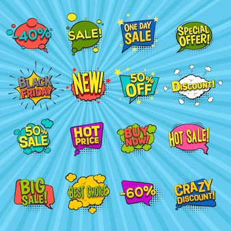 Discount comic icons set with special offer symbols