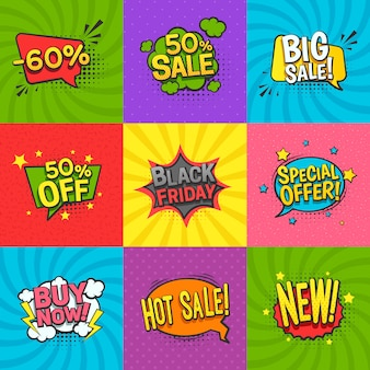Discount comic labels set