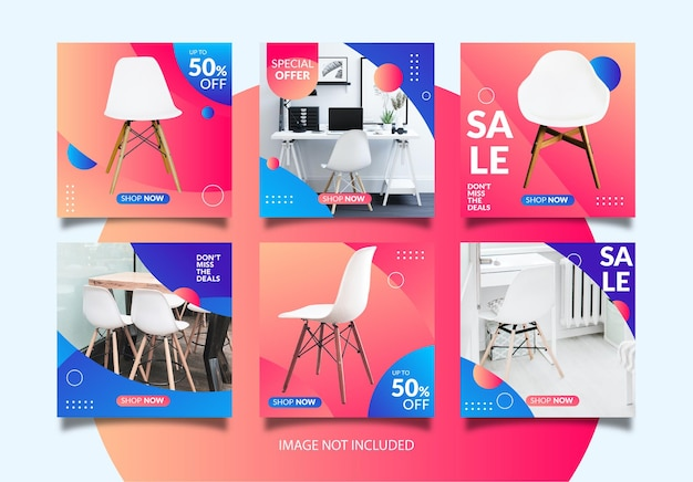 Discount concept about chair sales. instagram post template for chair sales