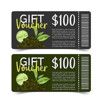 Discount coupon design,green tea coupon