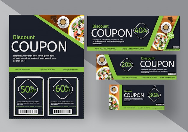 Discount coupon set for food cafe
