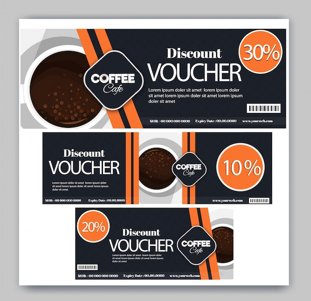 コーヒーカフェの割引クーポンセット。