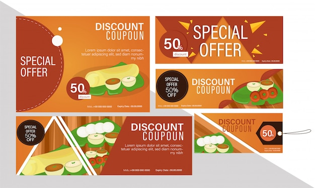 Discount coupon set on south indian cuisine for restaurants