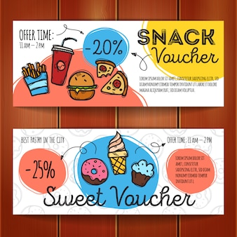Discount coupons for fast food and desserts