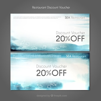 Discount coupons seafood restaurant Free Vector