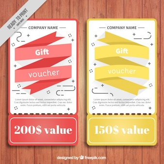 Discount coupons with colored ribbon in flat design