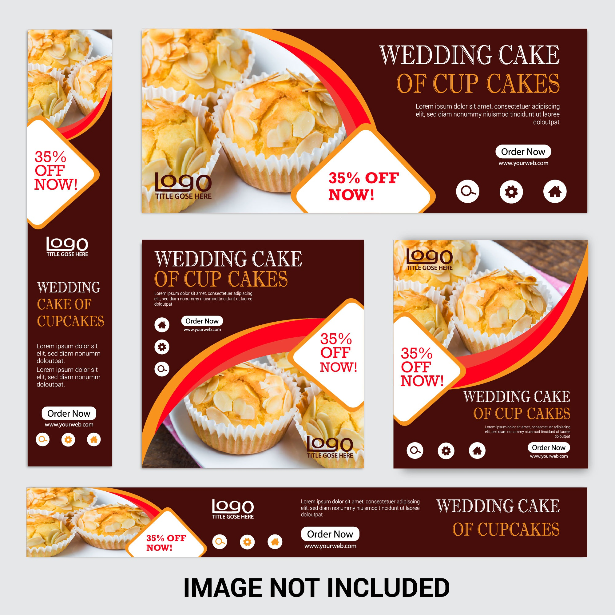Discount Cup Cake Web Banner Set for Restaurant